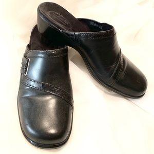 """🗣""""Clark's Bendables"""" 💠Black Leather Clogs💠 EUC"""
